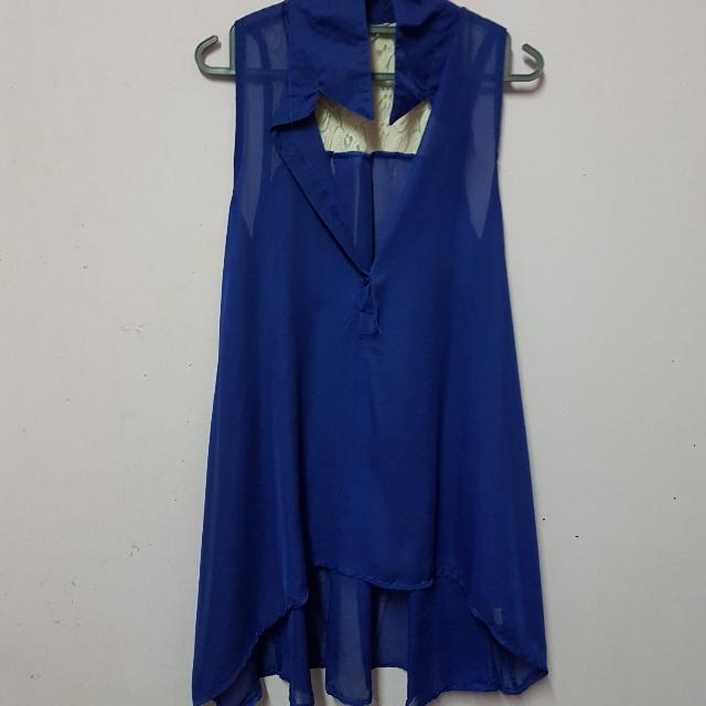 Blue Lace Sleeveless Blouse - Size S/M