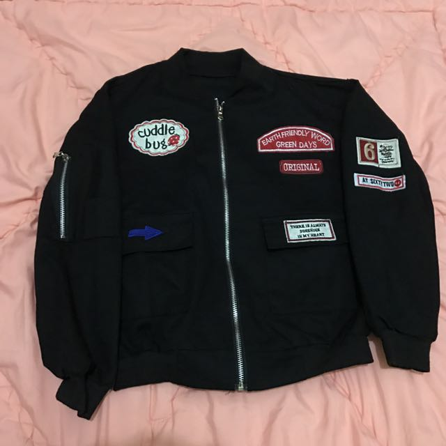 Bomber Jacket with Patch - Black