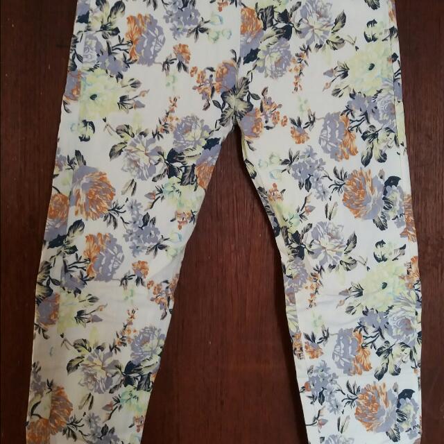 Celana Legging Motif Bunga Fesyen Wanita Pakaian Wanita Bawahan Di Carousell