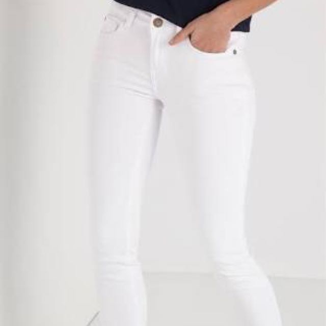 Cotton On White Skinny Mid Rise Jeans