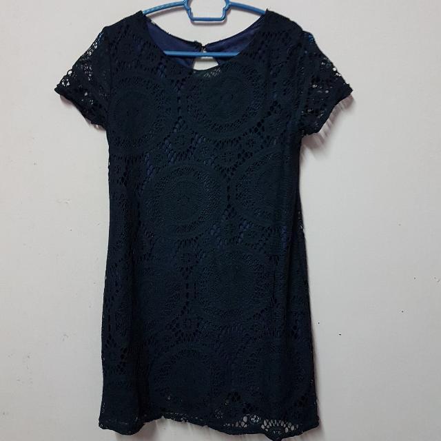 Dark Blue Lace Mini Dress