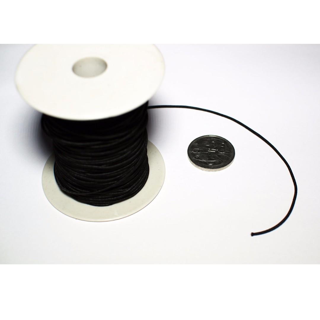 Fabric Elastic String 1.0mm Black Thread Cord Per Metre