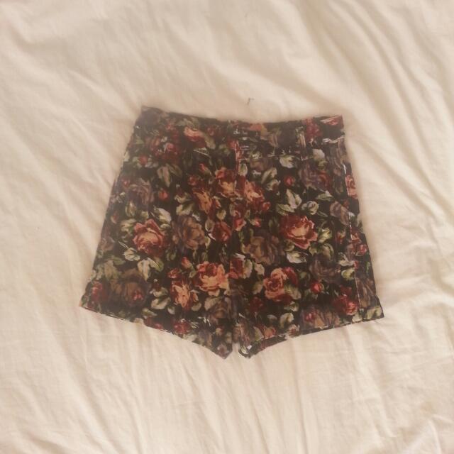 Floral Velvet Shorts