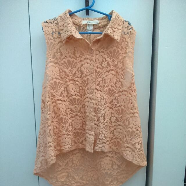 Forever 21 Peach Floral Lace Top