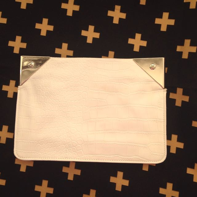 Forever New White And Gold Clutch