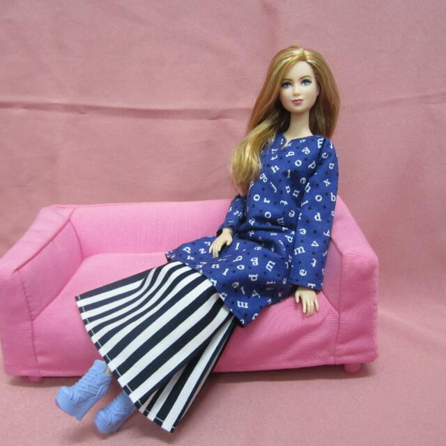 Handmade Barbie Blue Alphabets Baju Kurung d21de02527