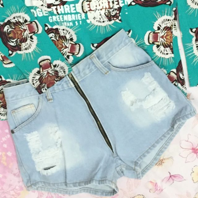Hotpants Jeans High Zipper