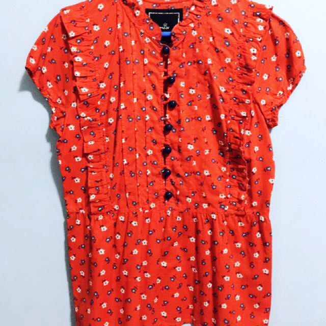 Kamiseta Red Floral Print Top