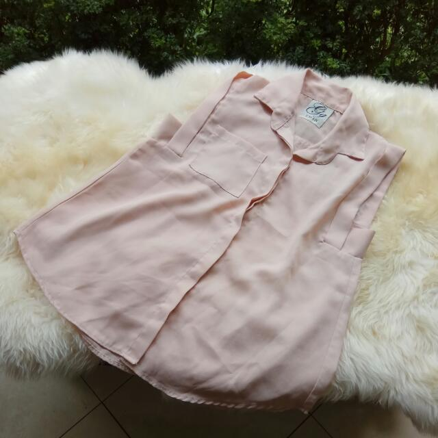 Kemeja Cream Dusty Pink
