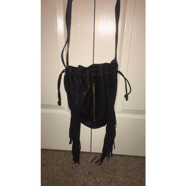 Leather Black Tassel Bag