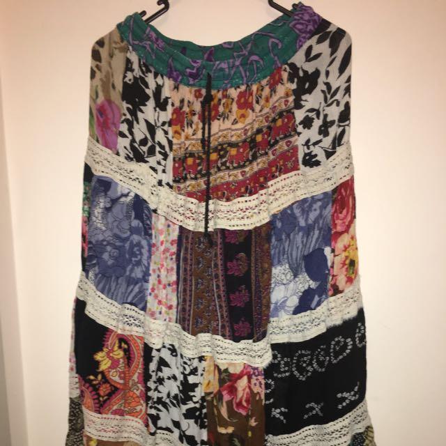 Long Multi-Print Skirt
