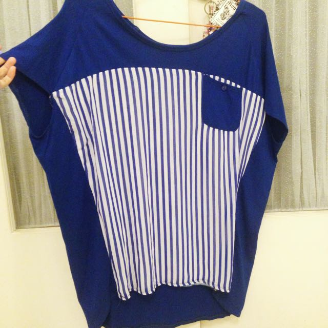 Loose T-Shirt -- Stripes Navy Blue