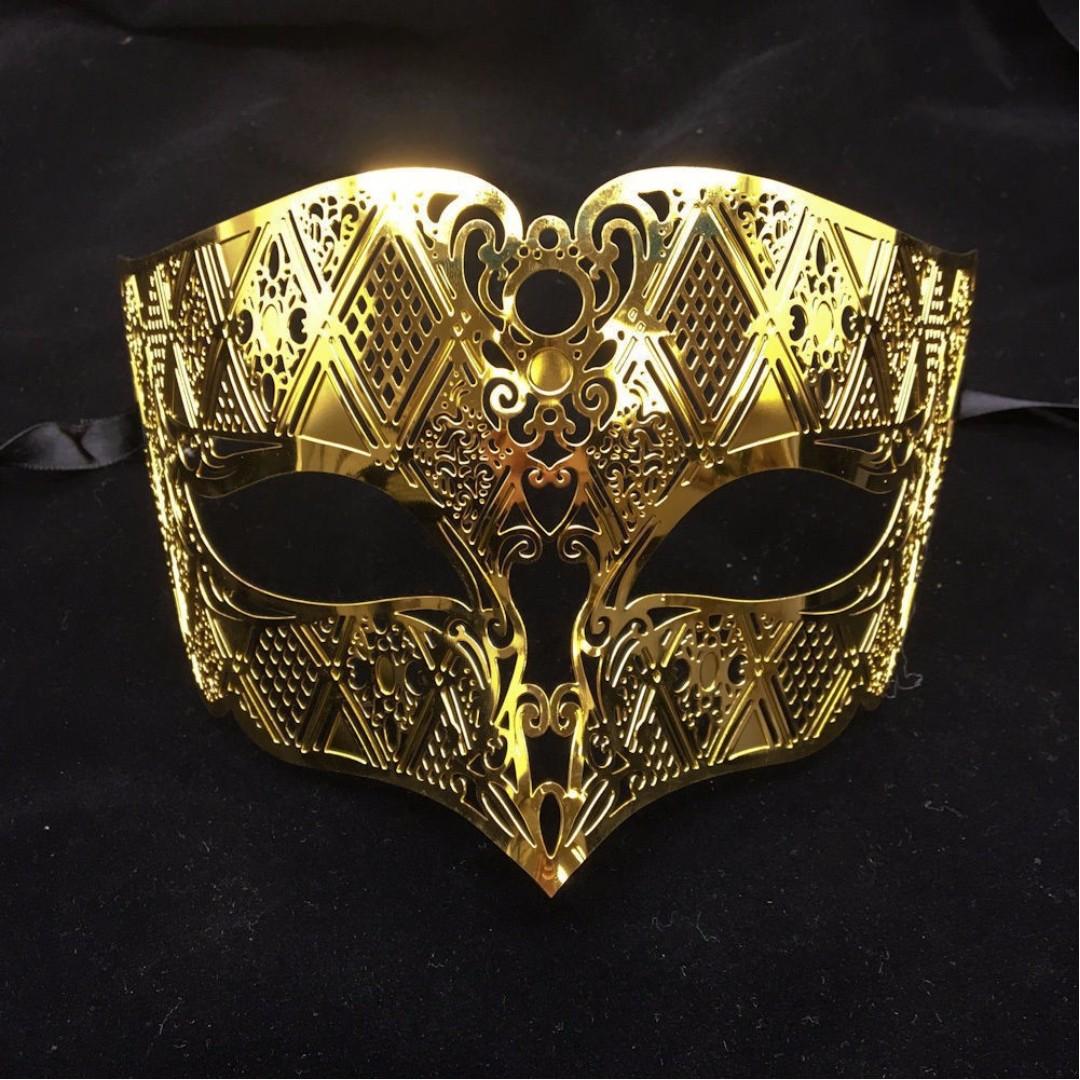 Men Metal Lace Laser Cut Masquerade Venetian Mask Gold