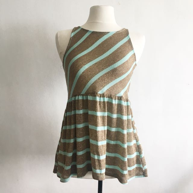 Mint And Gold Striped Top