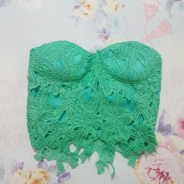 Mint Mermaid Crochet Tube Bustier