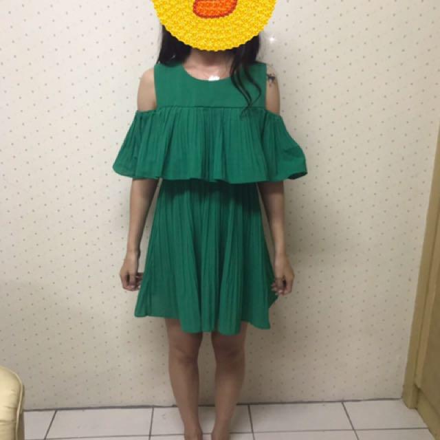 轉售-miustar 百摺露肩洋裝