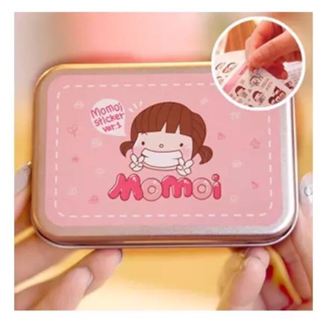韓國可愛女孩Momoi日記隨手貼紙鐵盒
