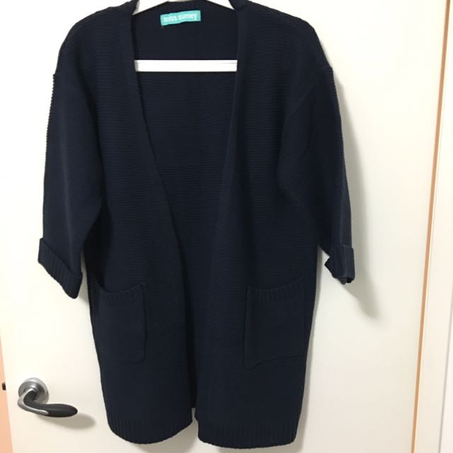 Navy Colour 3/4 Sleeves Cardigan
