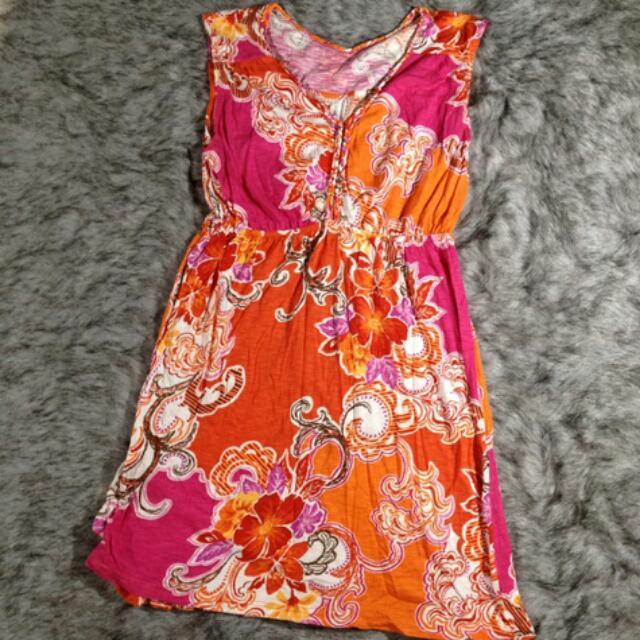 Pink And Orange Cotton Dress (M)