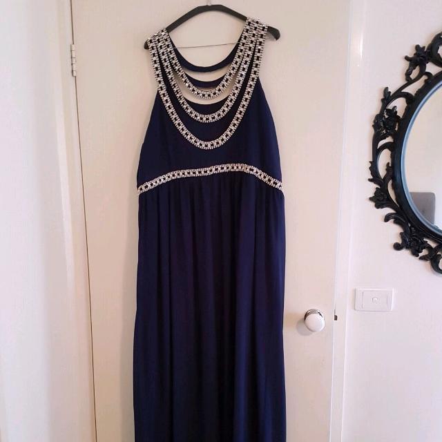 Plus Size Formal Embellished Maxi Dress