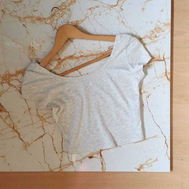 Pull And Bear Gray Cropped Top