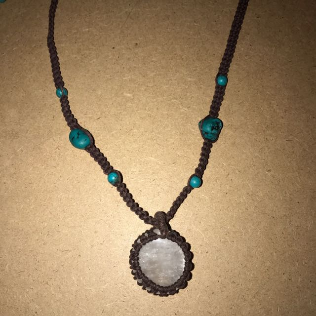 Quarts And Turquoise Adjustable Necklace