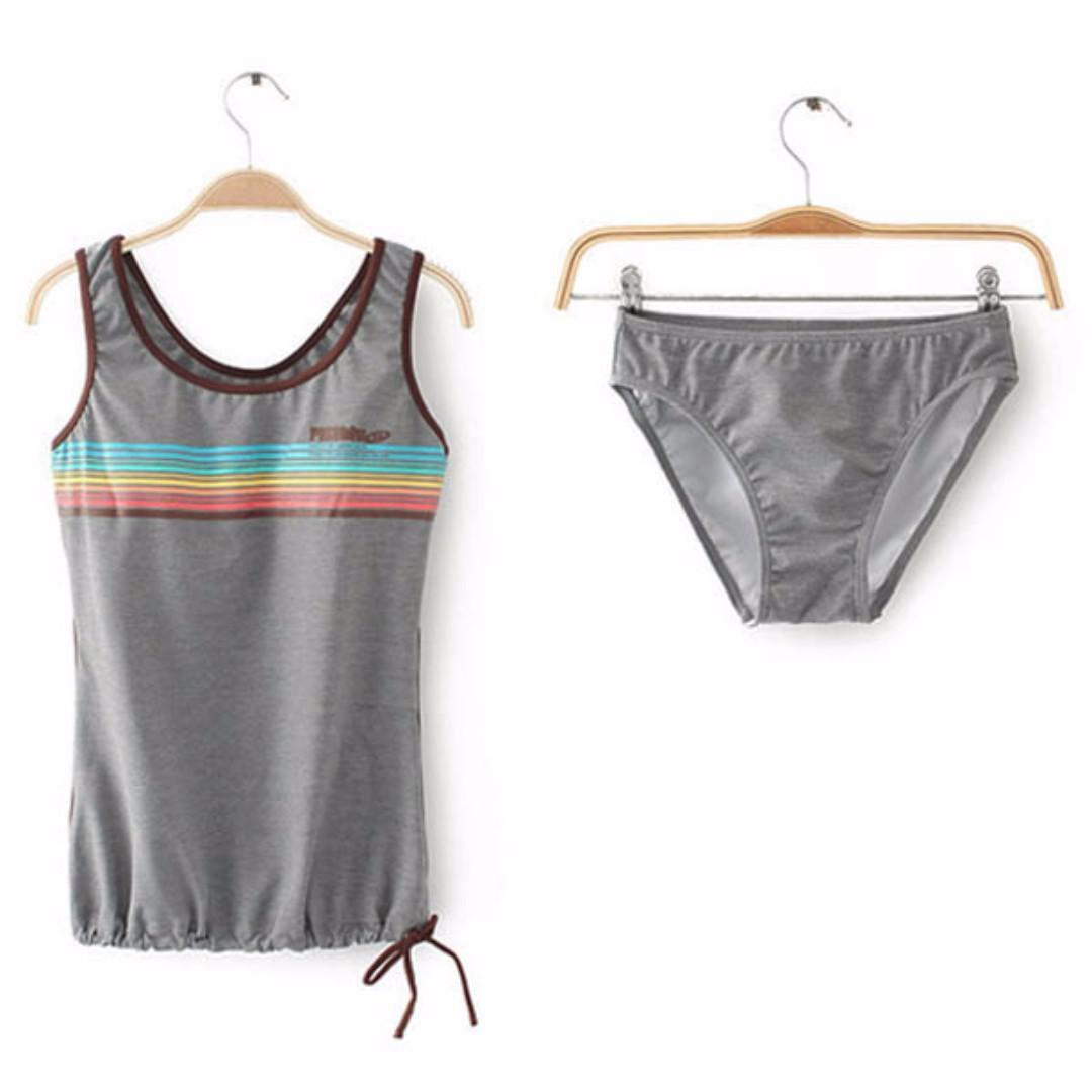 [Ready Stock] Tankini Singlet Bikini Set