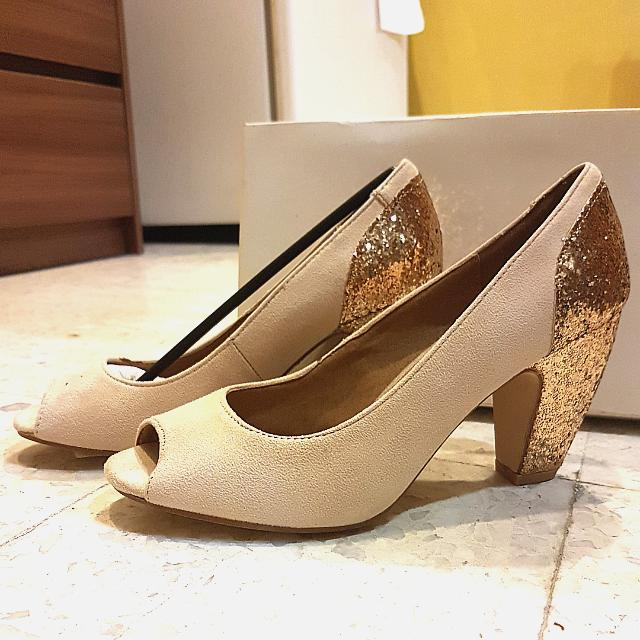 81e7e0dd0b Rubi Cotton On Nude Mid Kitten Heels Gold Glitter Bling Open Toe ...