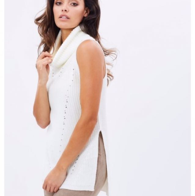 Sleeveless Knit Top Offwhite Fresh Soul In Small