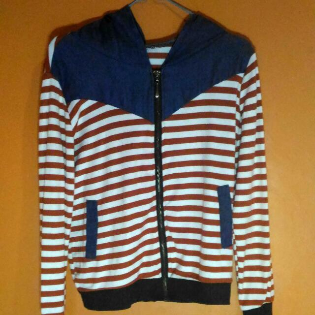 Striped Outer With Hoodie