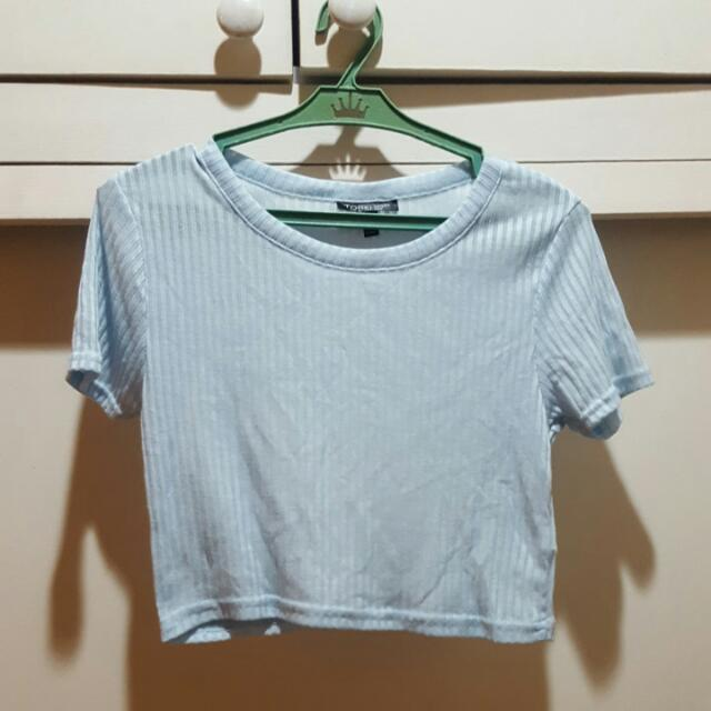 Topshop Baby Blue Ribbed Crop Top