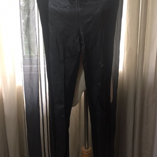 Topshop Leggings W Leather Detail