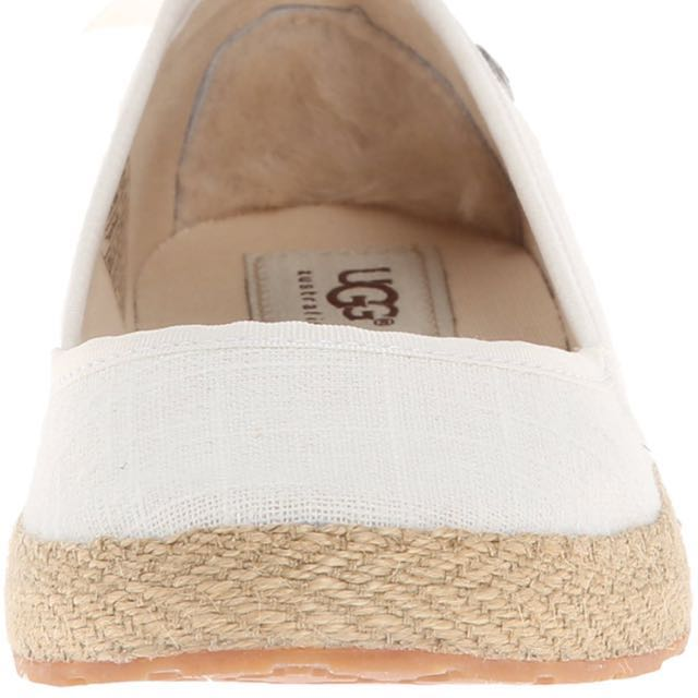 UGG Australia Women's Indah Casual Slip On Size - Size US 10 (M) - White Canvas, Women's Fashion, Shoes on Carousell