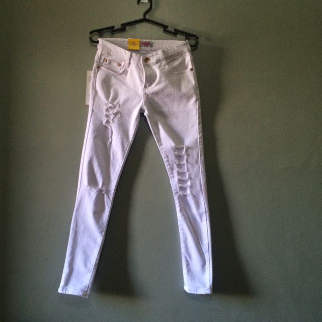 Unbranded White Skinny Ripped Jeans