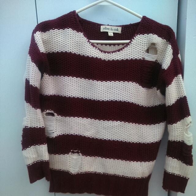 Urban Outfitters Distressed Burgundy Cream Knit