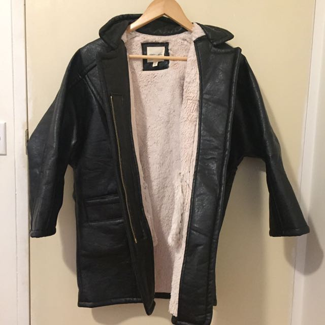 Urban Outfitters Oversized Leather Coat Shell With Plush Lining