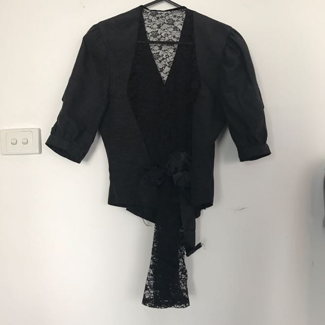Vintage Black Lace Jacket With Corseted Fit And Lace Back Medium