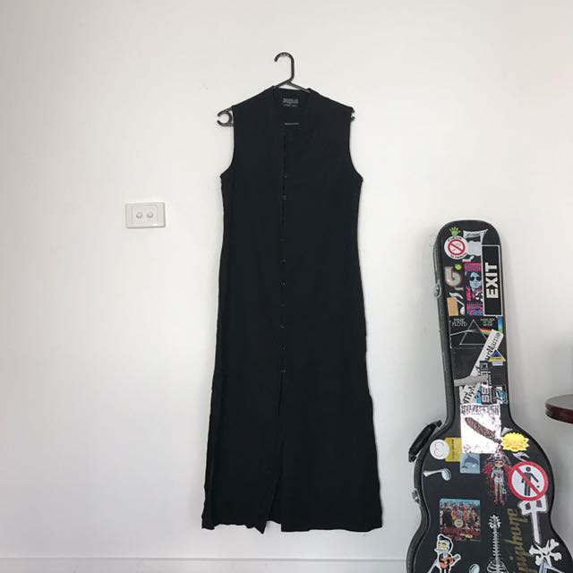Vintage Extra Long Black Cotton Dress Size 12