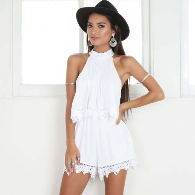 White Frill Lace Playsuit