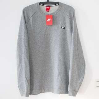 NIKE 灰色棉質大學T 版型佳 全新台灣貨