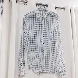 Grid Long-sleeved Blouse