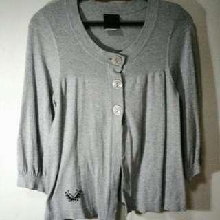 Gray Cotton Cardigan