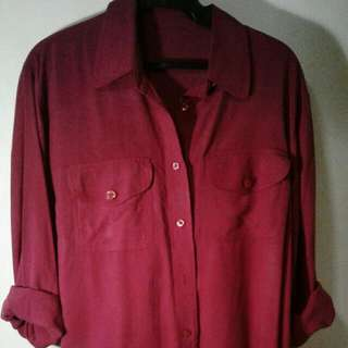 Red Button-down Longsleeves