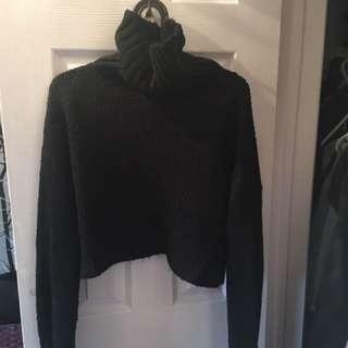 black 'sabo skirt' cropped knit turtle neck
