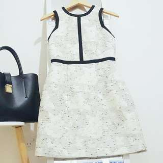 H&M DRESS White Black Tweed Monochrome AU 8 Small