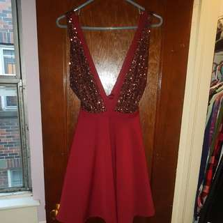 Sequined A-line Dress with Plunging Neckline