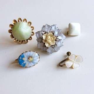 美國古董單邊夾式耳環五件組-春日花園