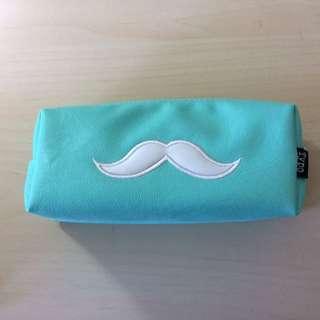 Blue Moustache Typo Pencil Case
