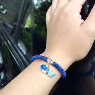 純銀蠶絲蠟線手環-烤藍 蝴蝶 南瓜