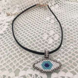 ❀ HANDMADE ❀BEADED EVIL EYE CHOKER